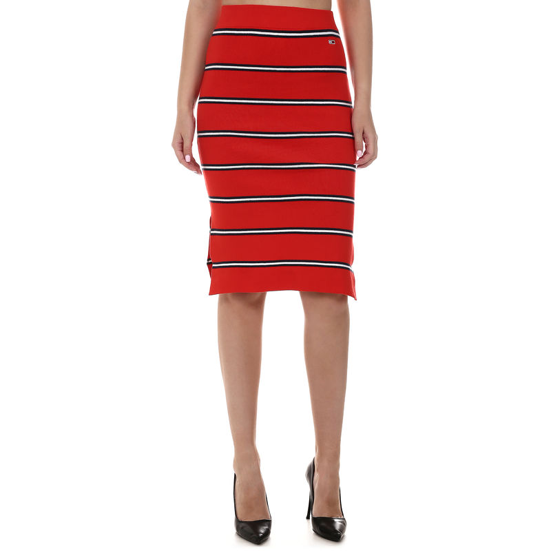 Ženska suknja Tommy Hilfiger KNITTED STRIPE PENCIL SKIRT