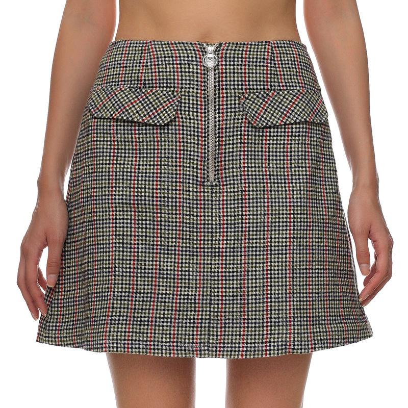 Ženska suknja Tommy Hilfiger TJW CHECK ZIP MINI SKIRT