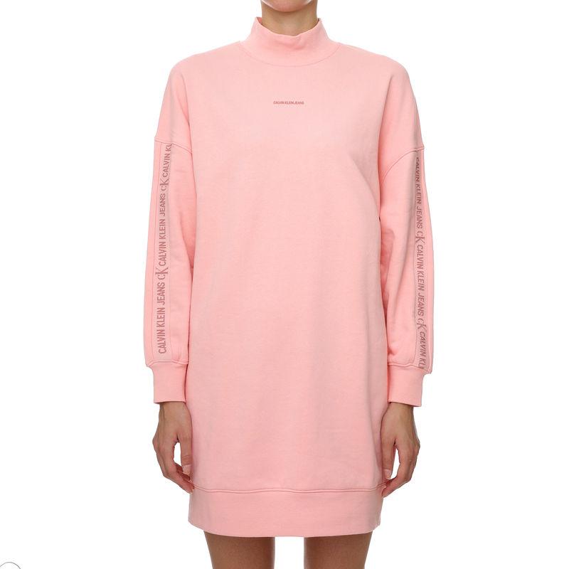 Ženska haljina Calvin Klein LOGO TRIM MOCK NECK DRESS
