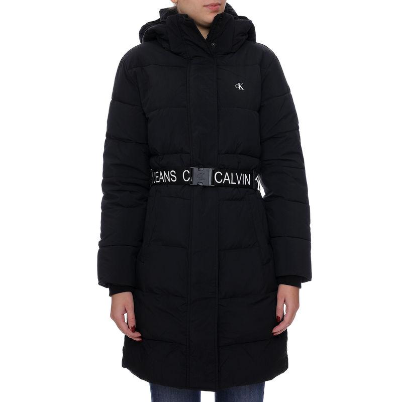 Ženska jakna Calvin Klein WAISTED LOGO LONG PUFFER